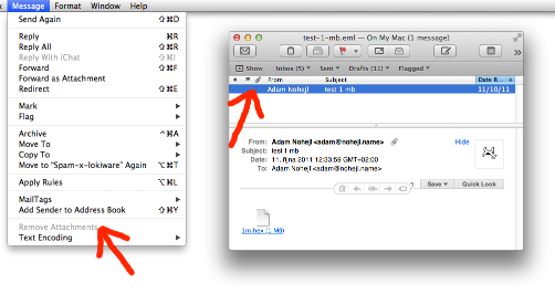 Since Mac OS X Lion Mail does not recognize that some messages have attachments and cannot remove them.